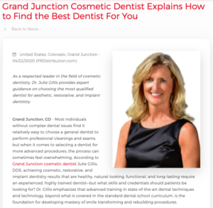Julie Gillis, DDS Discusses How to Find the Best Cosmetic Dentist in Grand Junction